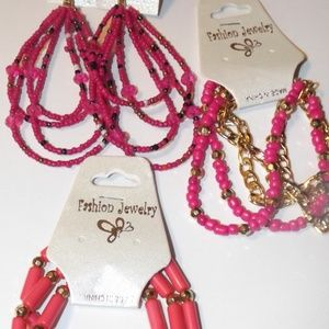 Hot Pink and Gold Beaded  Earrings and Bracelets!